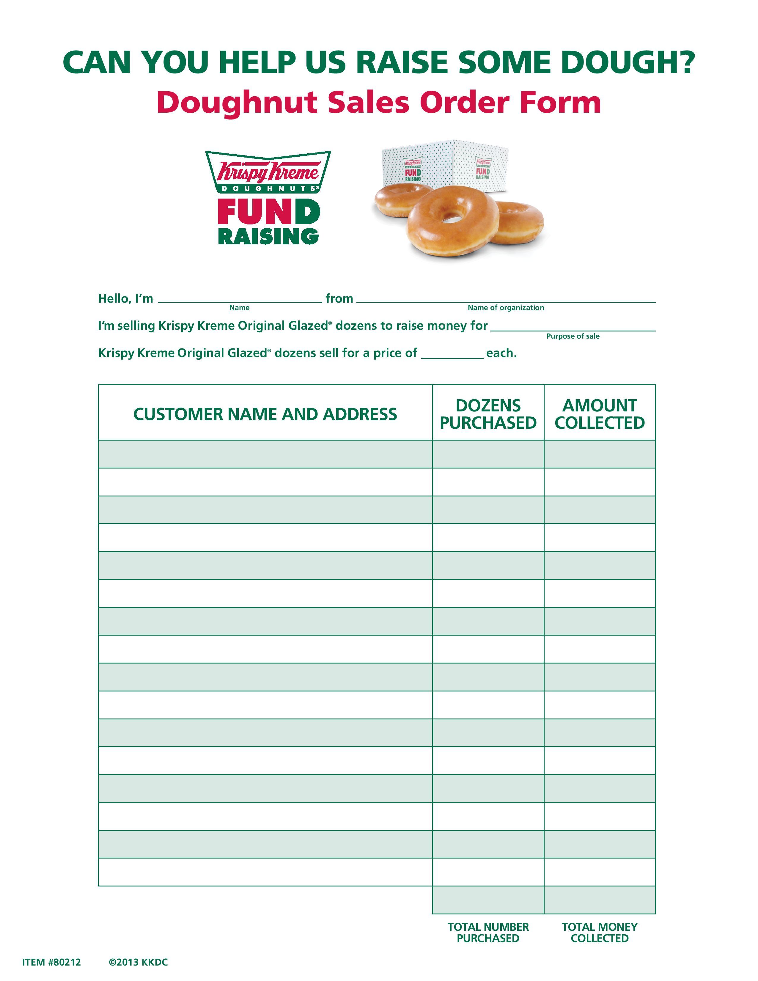 Traditional Doughnut Sales Form Krispy Kreme